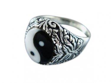 925 Sterling Silver Unisex Ornate Ying Yin Yang Tai Chi Ring
