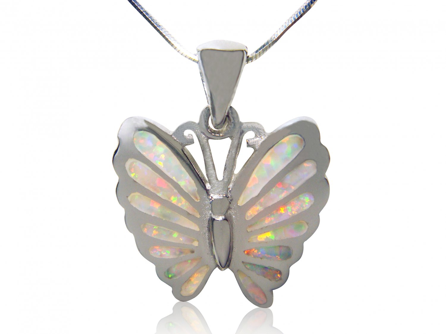 925 Sterling Silver White Mosaic Fire Inlay Opal Butterfly Charm Pendant