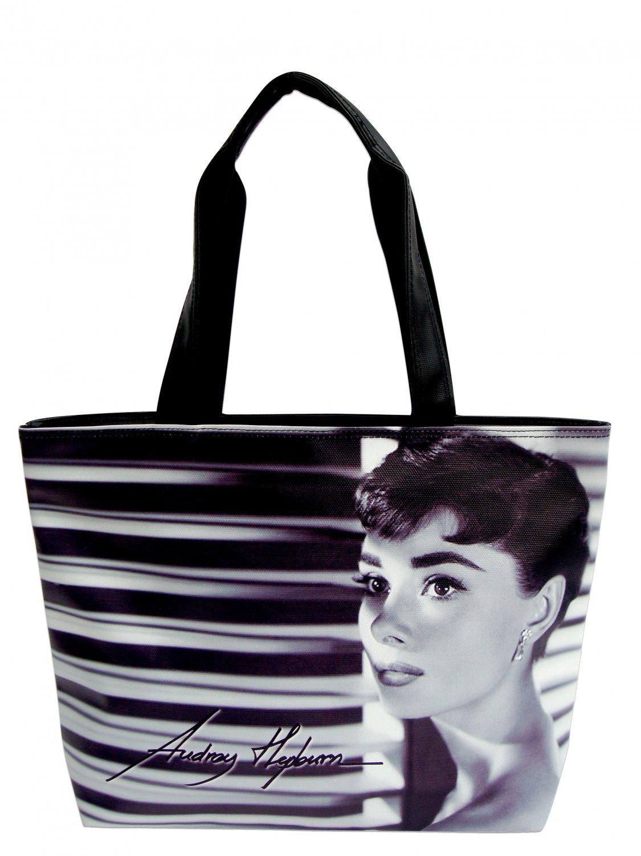 Audrey Hepburn Signature Classic Wide Tote Shoulder Bag Purse