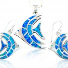 925 Sterling Silver Hawaiian Blue Fire Opal Fish Pendant Earrings Set