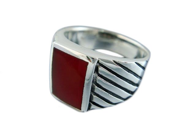925 Sterling Silver Mens Rectangle Carnelian Engraved Sides Ring 12 gr