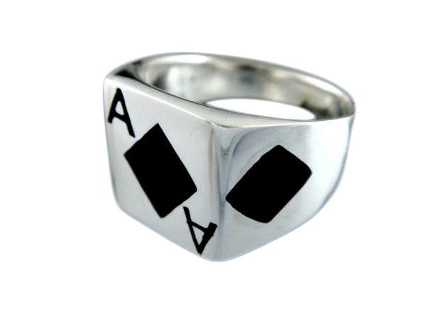 925 Sterling Silver Men's Ace of Diamonds Card Game Ring