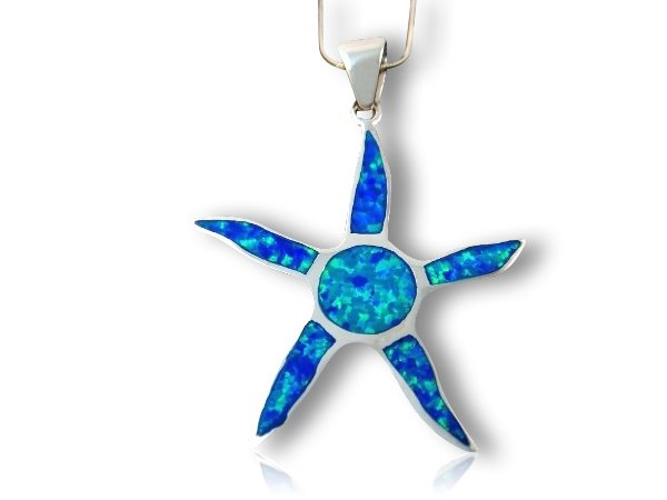 925 Sterling Silver Pendant Hawaiian Blue Inlay Opal Starfish Sun