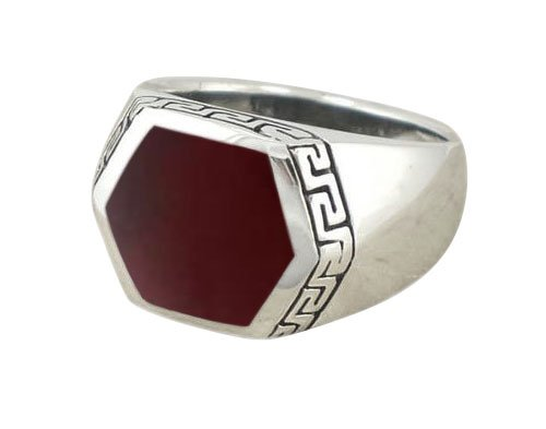 925 Sterling Silver Men's Hexagonal Carnelian Greek Key Meander Ring