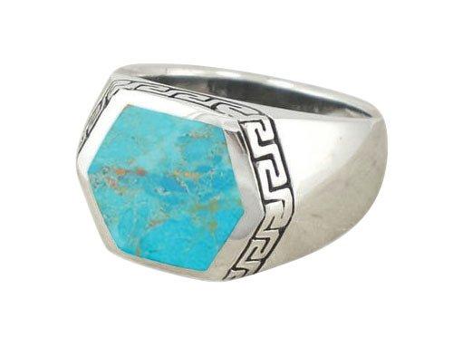 925 Sterling Silver Men's Hexagonal Genuine Turquoise Greek Key Meander Ring