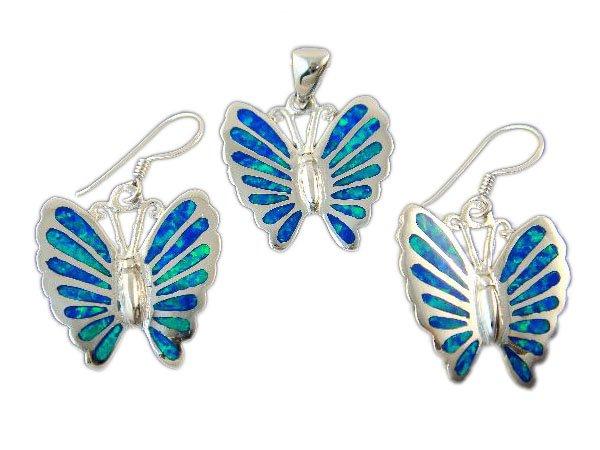 925 Sterling Silver Earrings Pendant Set Hawaiian Opal Butterfly