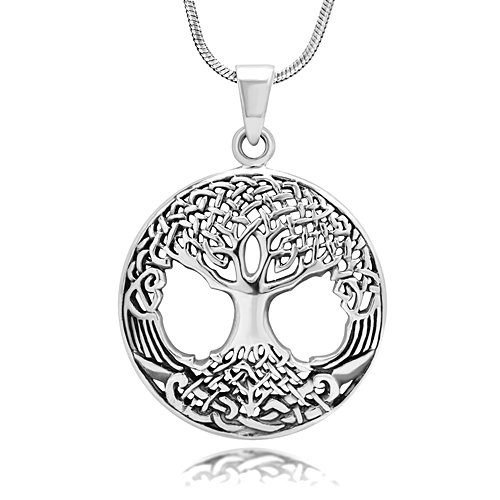 925 Sterling Silver Ornate Celtic Knots Tree of Life Charm Pendant