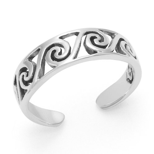 925 Sterling Silver Surf Wave Oxidized Adjustable Toe Ring