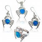 925 Sterling Silver Hawaiian Blue Opal Crab Ring Pendant Dangle Earrings Set