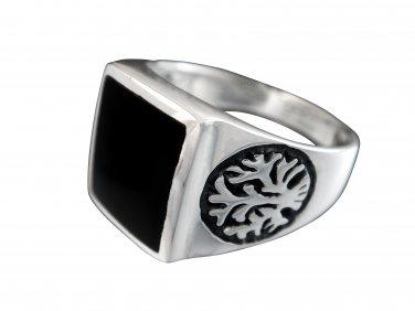 925 Sterling Silver Men's Celtic Tree Of Life Black Rectangular Onyx Ring 9gr
