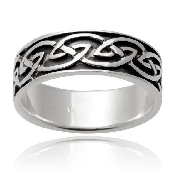 925 Sterling Silver Celtic Interwoven Infinity Knots Irish Wedding Band Ring