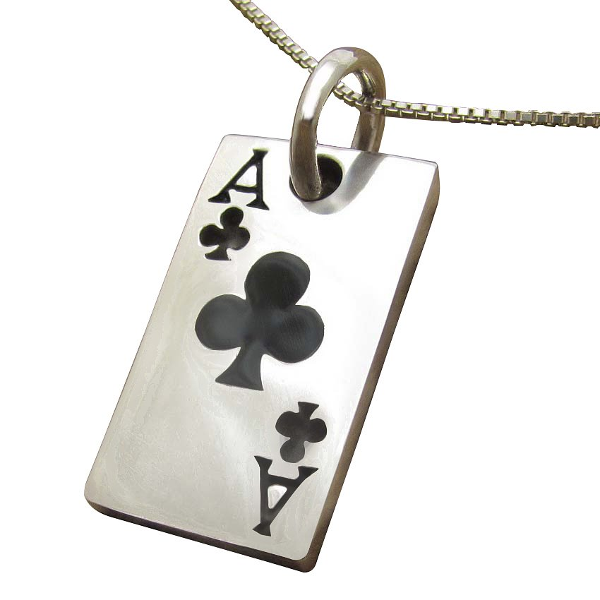 925 Sterling Silver Unisex Ace of Clubs Poker Casino Las Vegas Card Game Lucky Pendant