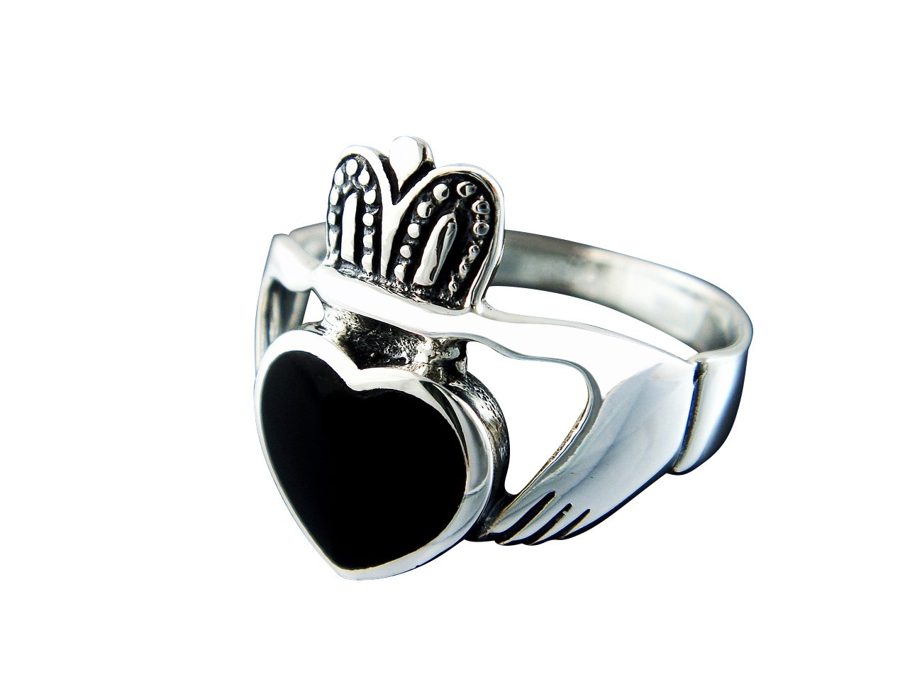 925 Sterling Silver Men's Black Onyx Celtic Irish Claddagh Wedding Ring
