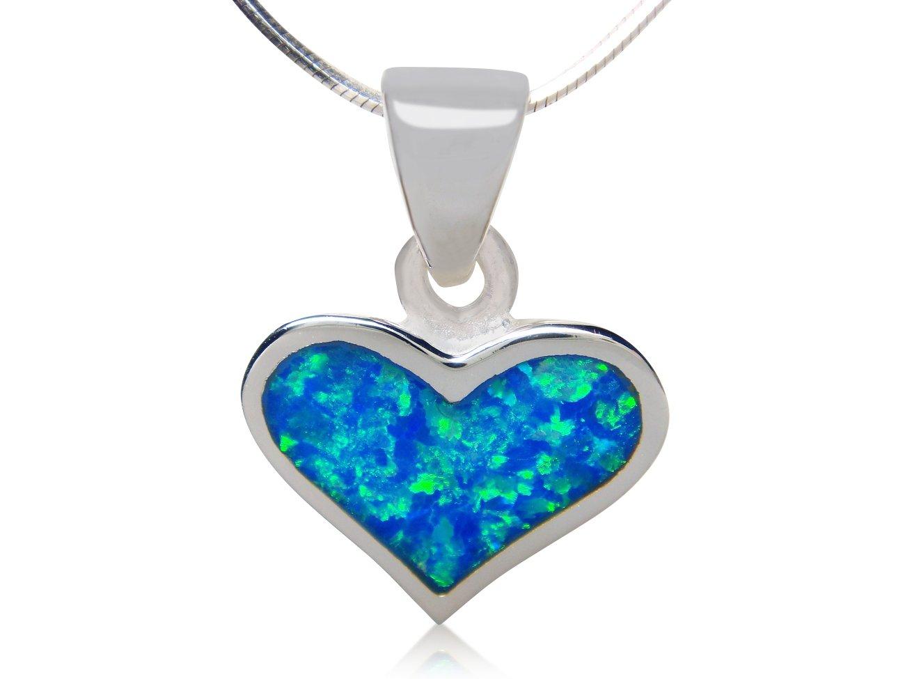 925 Sterling Silver Hawaiian Blue Fire Opal Heart Love Charm Pendant