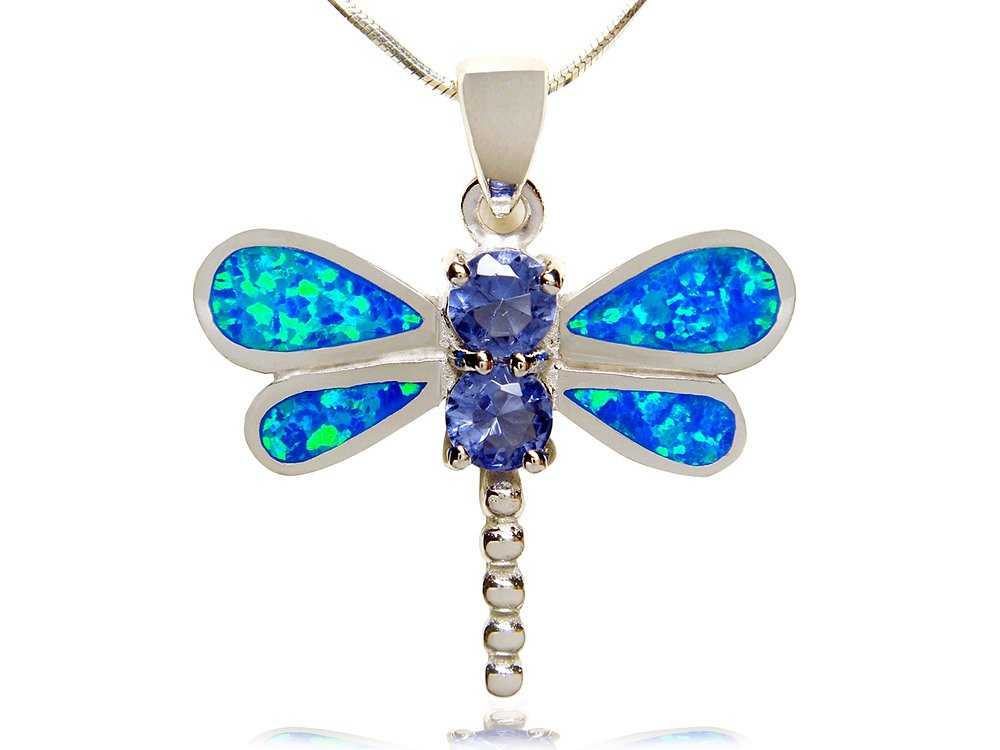 925 Sterling Silver Pendant Blue Opal Cubic Zirconia Dragonfly
