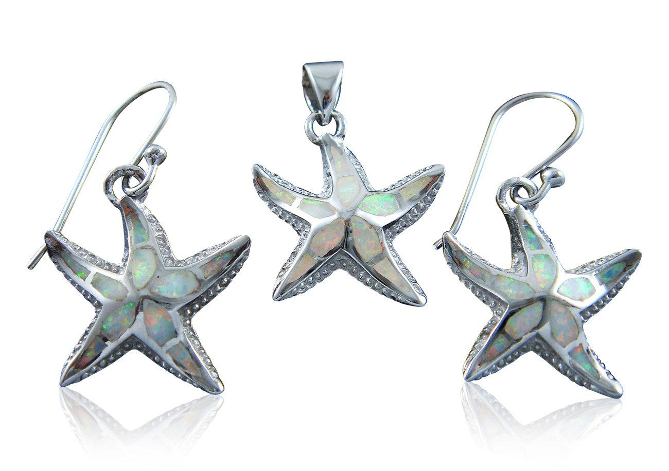 925 Sterling Silver White Opal Starfish Pendant Earrings Set