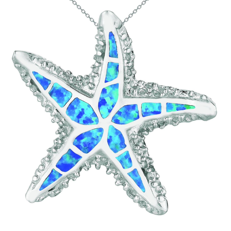 925 Sterling Silver  Hawaiian Blue Inlay Mosaic Opal Starfish 3D Pendant