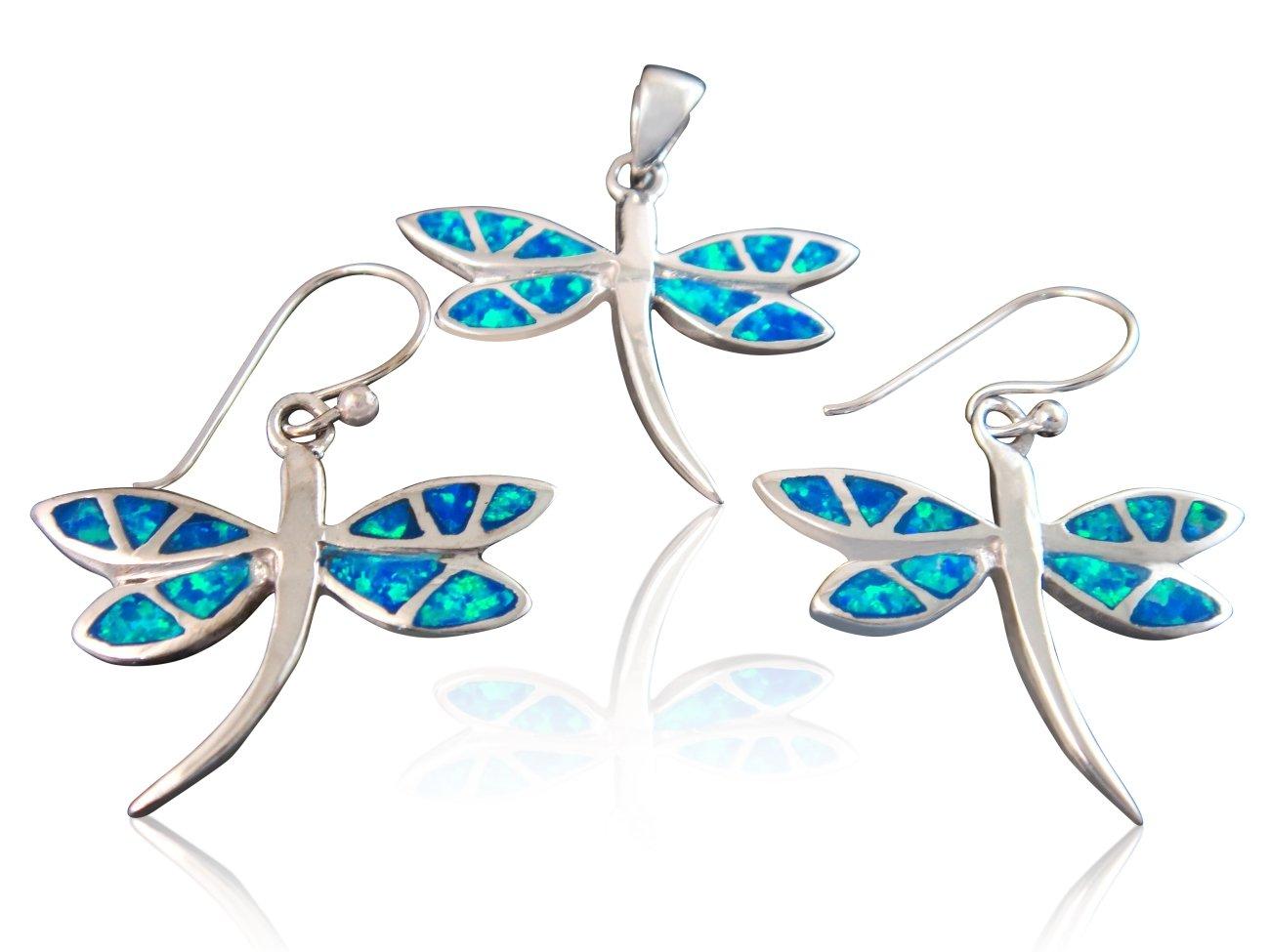 925 Sterling Silver Hawaiian Blue Opal Dragonfly Dangle Earrings Pendant Set
