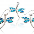 925 Sterling Silver Hawaiian Blue Opal Dragonfly Dangle Earrings Pendant Set