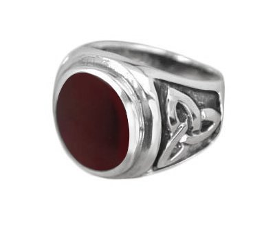 925 Sterling Silver Mens Oval Gemstone Carnelian Celtic Irish Triquetra Engraved Ring