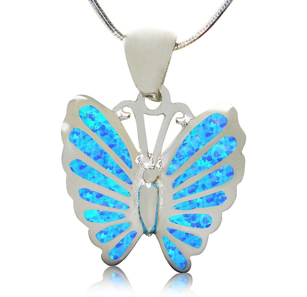 925 Sterling Silver Hawaiian Blue Inlay Fire Opal Lovely Butterfly Charm Pendant