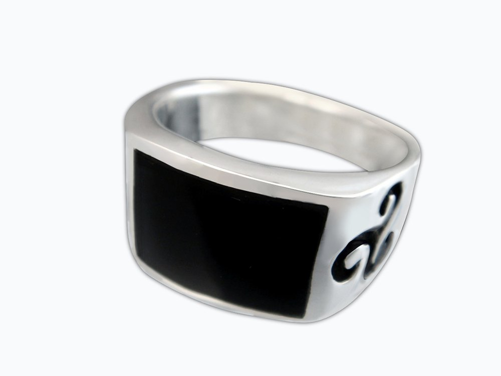 925 Sterling Silver Men's Onyx Celtic Symbol Irish Engraved Sides Solid Ring