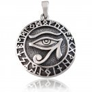 925 Sterling Silver Egyptian Eye of Horus Ra Udjat Nordic Norse Runes Runic Charm Pendant