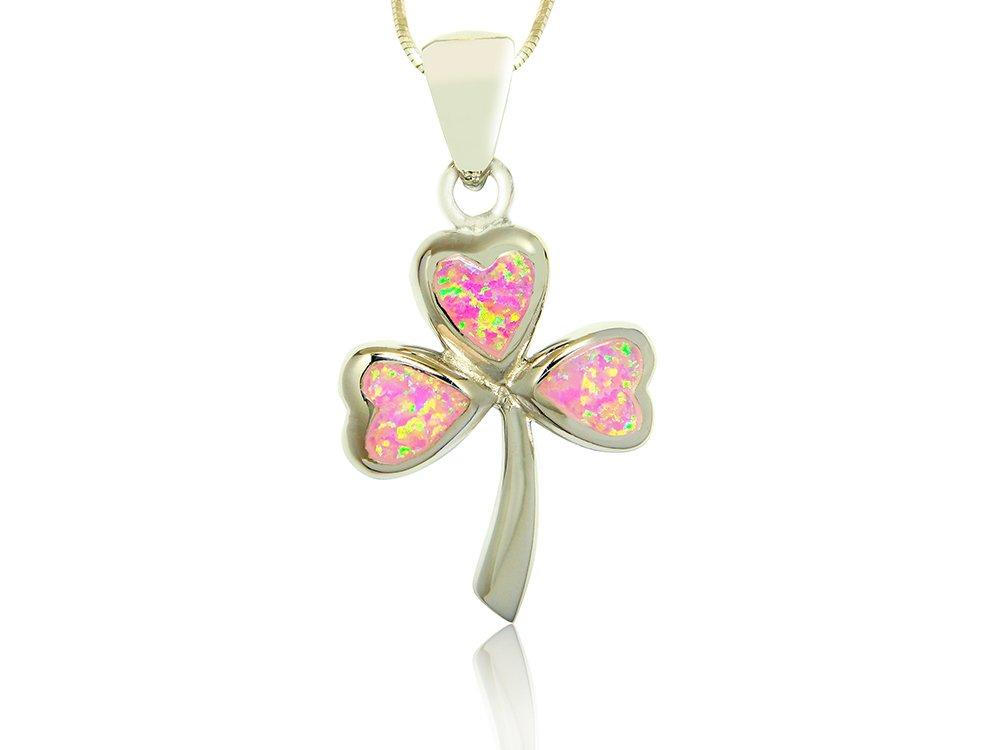 925 Sterling Silver Pink Fire Opal Lucky Celtic Irish Clover Shamrock Charm Pendant