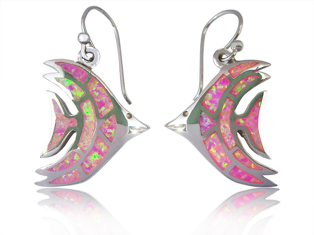 925 Sterling Silver Pink Fire Inlay Opal Fish Dangle Earrings Jewelry Set