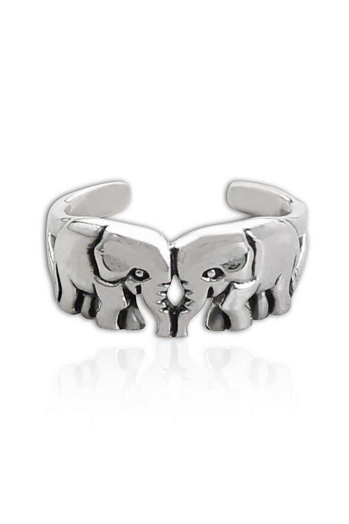 925 Sterling Silver Twin Elephants Oxidized Adjustable Pinky Toe Ring