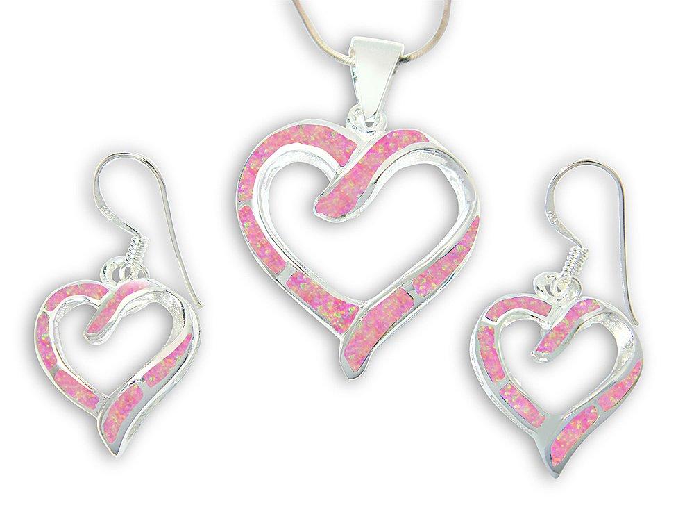 925 Sterling Silver Pink Fire Inlay Opal Love Heart Dangle Earrings Pendant Set