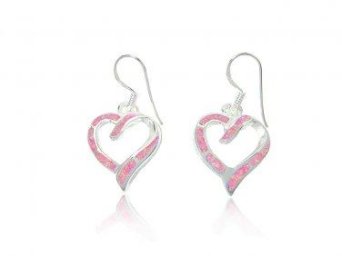 925 Sterling Silver Pink Fire Inlay Opal Love Heart Dangle Earrings Set