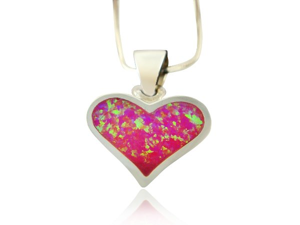 925 Sterling Silver Pink Fire Inlay Opal Heart Love Charm Pendant