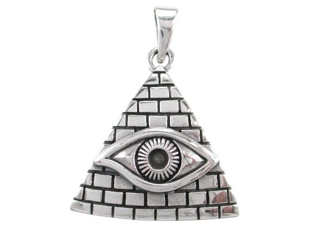 925 Sterling Silver Egyptian Pyramid All-Seeing Evil Eye of Horus Illuminati Protection Pendant