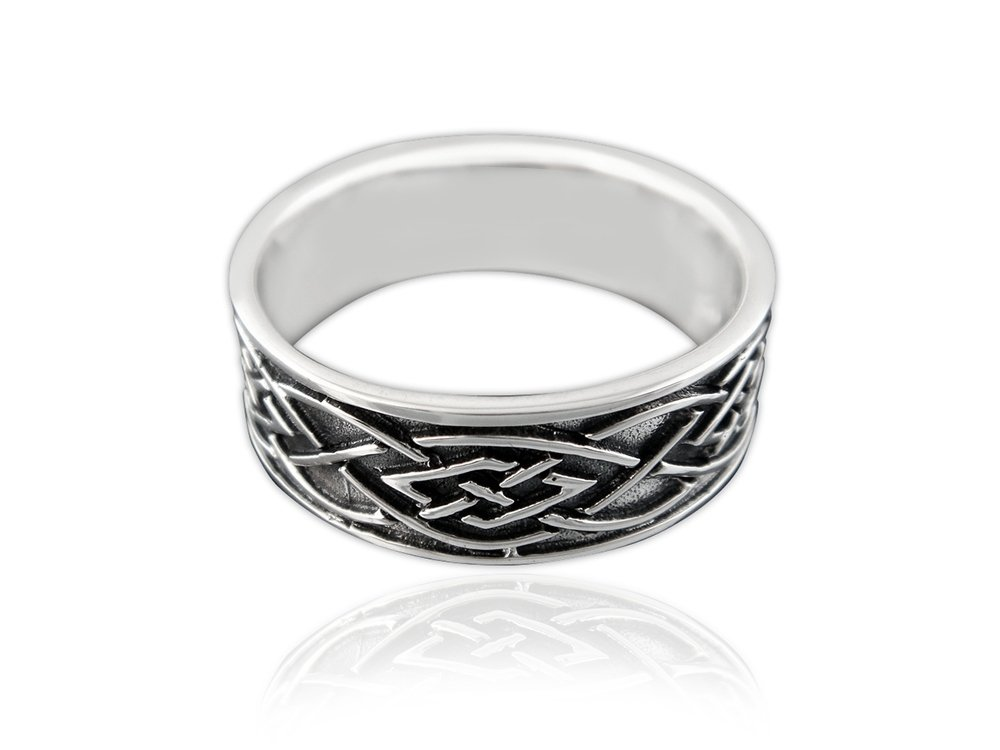 925 Sterling Silver Celtic Knot Irish Oxidized Unisex Band Ring