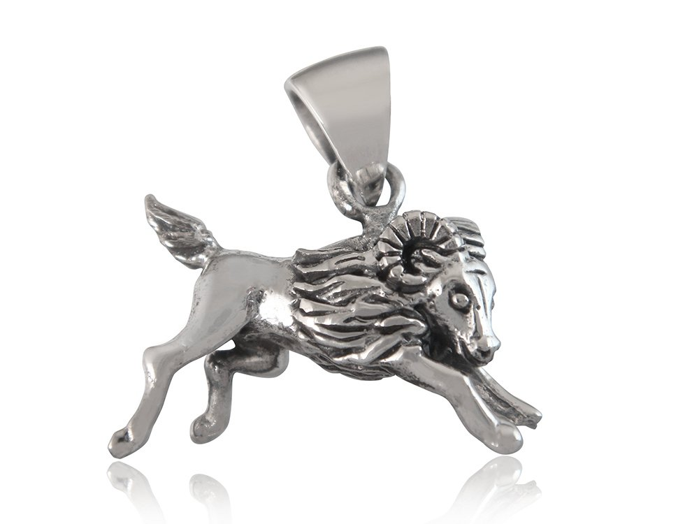 925 Sterling Silver Zodiac Star Sign Aries Ram Animal Horoscope Charm Pendant
