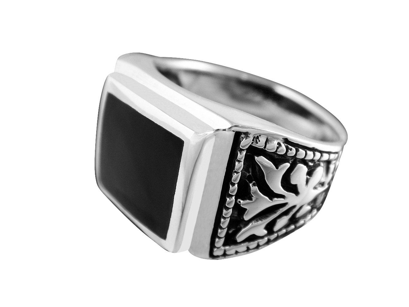 925 Sterling Silver Mens Black Onyx Celtic Irish Engraved Sides Ring