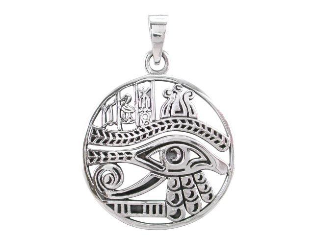 925 Sterling Silver Egyptian Symbols Eye of Horus Ra Udjat Charm Pendant
