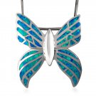 925 Sterling Silver Hawaiian Blue Inlay Fire Opal Butterfly Monark Big Charm Pendant 9gr