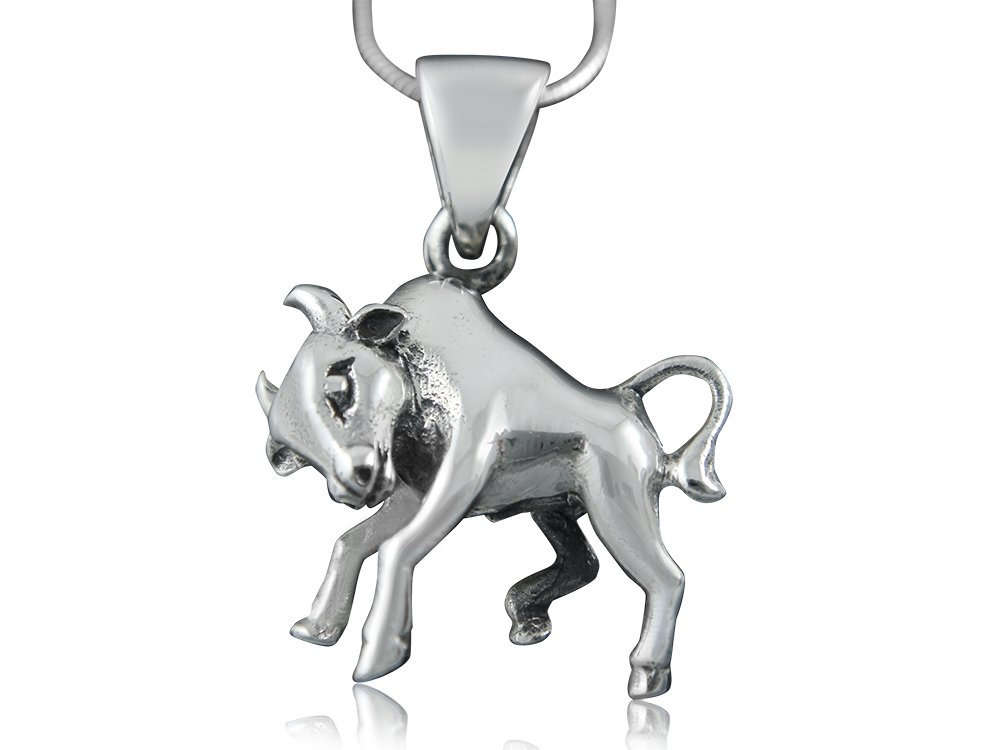 925 Sterling Silver Zodiac Astrological Star Sign Horoscope Taurus Bull Animal Charm Pendant