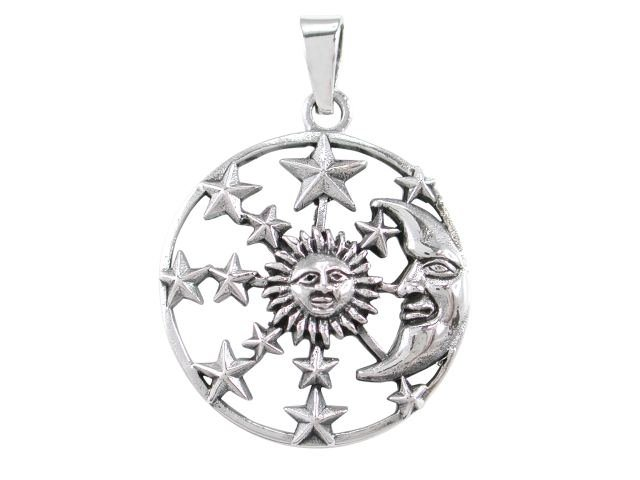 925 Sterling Silver Sun Crescent Moon Face Sky Stars Heaven Charm Pendant