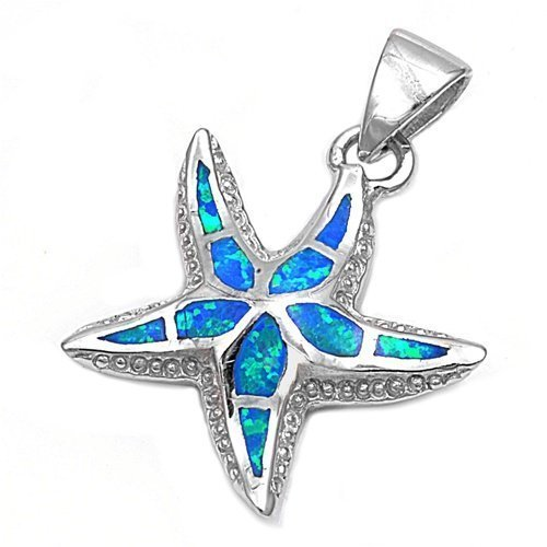 925 Sterling Silver Blue Fire Inlay Opal Sea Starfish 3D Charm Pendant