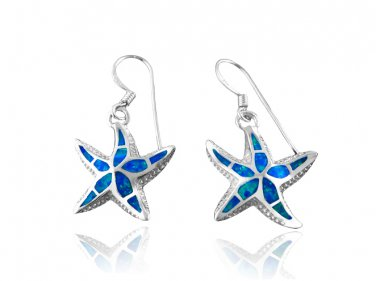925 Sterling Silver Hawaiian Blue Inlay Opal Starfish Sea Dangle Earrings Set