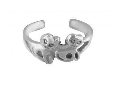 925 Sterling Silver Lovely Pair of Twin Cats Adjustable Pinky Toe Ring