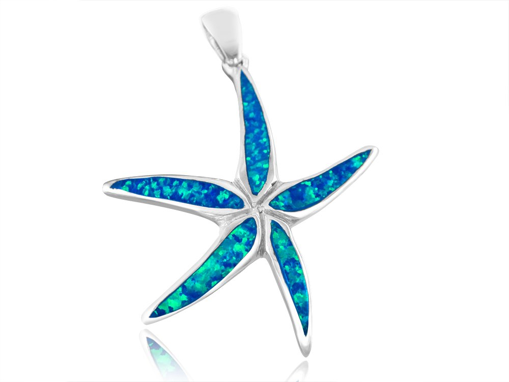 925 Sterling Silver Hawaiian Blue Inlay Opal Starfish Sea Big Charm Pendant