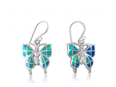 925 Sterling Silver Hawaiian Blue Inlay Fire Opal Butterfly Dangle Earrings Set