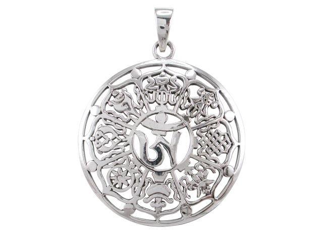 925 Sterling Silver Buddha Buddhism Ohm Om Aum Ashtamangala Signs Sacred Rare Charm Pendant