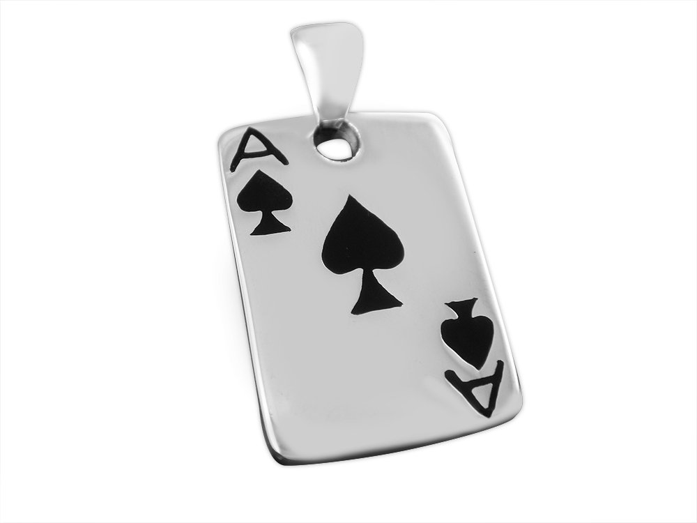 925 Sterling Silver Unisex Ace of Spades  Poker Casino Las Vegas Card Game Lucky Pendant