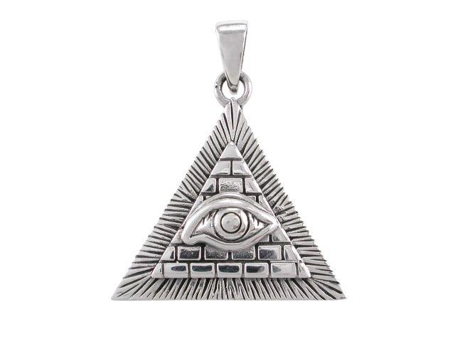 925 Sterling Silver Egyptian Pyramid All-Seeing Evil Eye of Horus Illuminati Charm Pendant