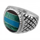 925 Sterling Silver Mens Onyx Malachite Turquoise Checkered Sides Solid Ring